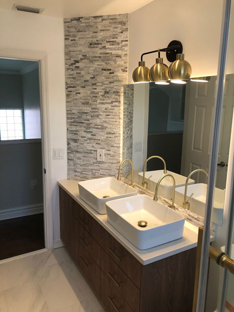 Bathroom Remodeling, modern bathroom, two vanity with golden accents and grey tiles